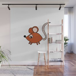 Drawn by hand a Friendly little mouse for children and adults Wall Mural