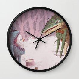 Drummer Bird Meets Croc Wall Clock