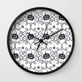 happy hallowen curves and pumkins pattern Wall Clock