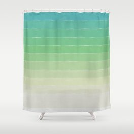 Shades of Ocean Water - Abstract Geometric Line Gradient Pattern between See Green and White Shower Curtain