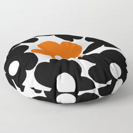 Large Orange and Black Retro Flowers White Background #decor #society6 #buyart Floor Pillow