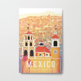 Mexico Guanajuato Travel Poster Metal Print