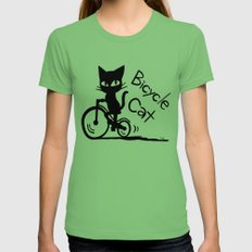 Bicycle Cat Grass Womens Fitted Tee X-LARGE