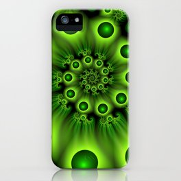 Green Fractal, Modern Spiral With Depth iPhone Case