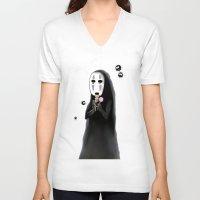 studio ghibli V-neck T-shirts featuring Studio Ghibli - Noface and Dango by Kayla Phan