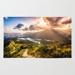 Hong Kong Mountainscape at sun Rug
