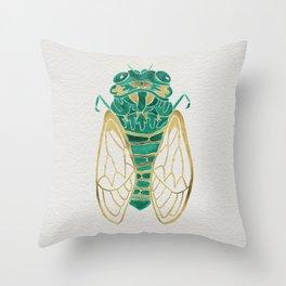 Cicada – Green & Gold Throw Pillow