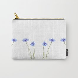 Two blue cornflower flowers isolated on white Carry-All Pouch
