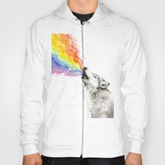 Wolf Rainbow Watercolor Howling Animal Whimsical Animals Hoody