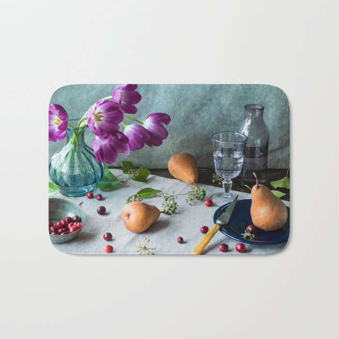 Still Life with Purple Tulips Bath Mat