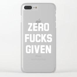 Zero Fucks Given (Black & White) Clear iPhone Case