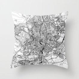 Madrid White Map Throw Pillow