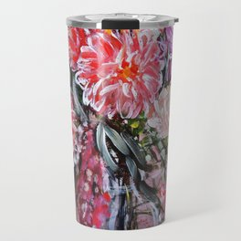 A LIFE TIME BANQUET- DAHLIAS- abstract floral still life by HSIN LIN / H.Lin the Artist Travel Mug