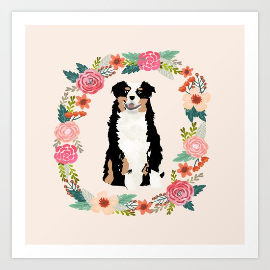 australian shepherd tricolored floral wreath dog gifts pet portraits by petfriendly
