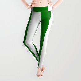 Wide Vertical Stripes - White and Green Leggings