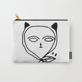 Graphic black white line art cat Carry-All Pouch