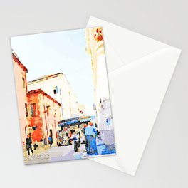 Teramo: foreshortening with red buildings and newspaper kiosk Stationery Cards
