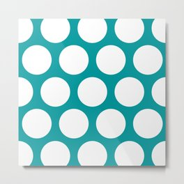 Large Polka Dots: Teal Metal Print