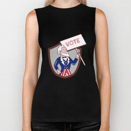 Uncle Sam Holding Placard Vote Circle Cartoon Biker Tank