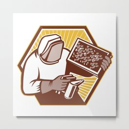 Beekeeper Apiarist Holding Bee Brood Retro Metal Print
