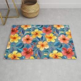 Colorful Watercolor Hibiscus on Grey Blue Rug