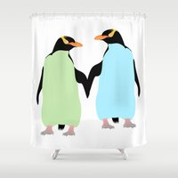 maori Shower Curtains featuring Gay Pride Penguins Holding Hands by mailboxdisco