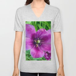 467 - Open Purple Tulip Unisex V-Neck