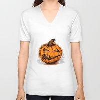 pumpkin V-neck T-shirts featuring Pumpkin by rafo
