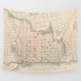 Vintage Map of Jacksonville FL (1878) Wall Tapestry