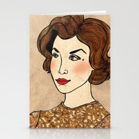 dale cooper Stationery Cards featuring TWIN PEAKS Audrey Horne Loves Dale Cooper by Lindsey Caneso