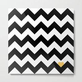 Heart & Chevron - Black/Yellow Metal Print