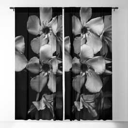 Oleander flowers in black and white Blackout Curtain