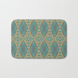 Teal Turquoise Khaki Brown Rustic Mosaic Pattern Bath Mat