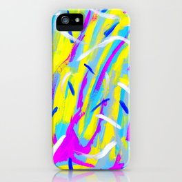 Spice It Up - yellow pink blue abstract painting brushstrokes modern pattern iPhone Case