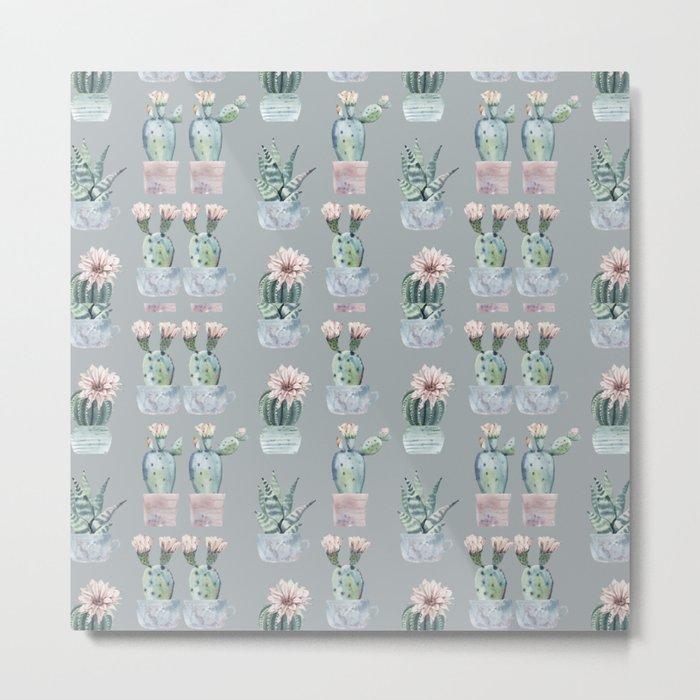 Potted Cactus Plants Gray Metal Print