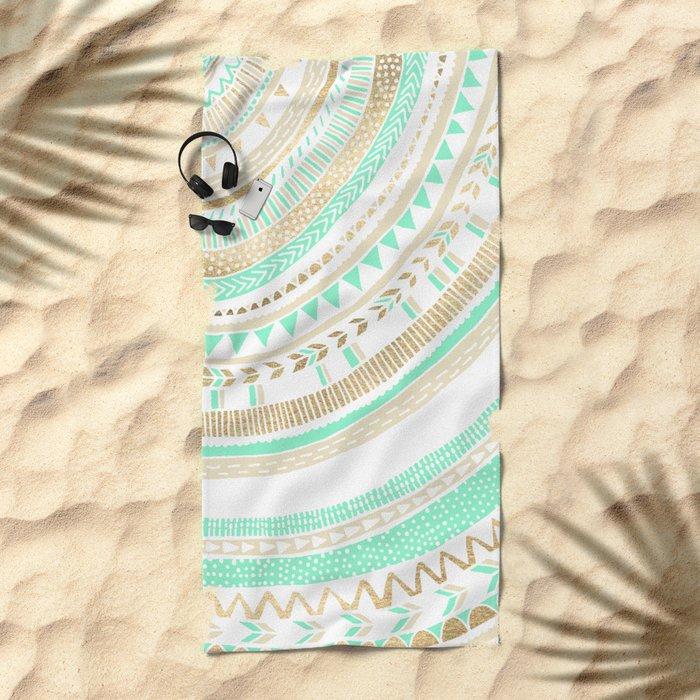 Mint + Gold Tribal Beach Towel