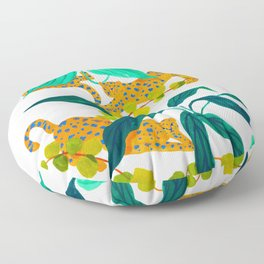 Leopards Playing among Plants Floor Pillow