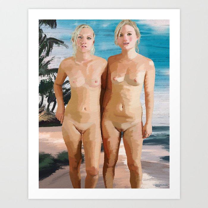 Nude Twins sisters Art Print