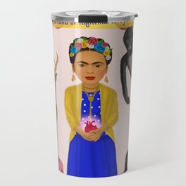 Frida Kahlo Tribute Light Pink Travel Mug