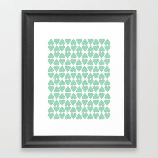 Diamond Hearts Repeat Mint Framed Art Print