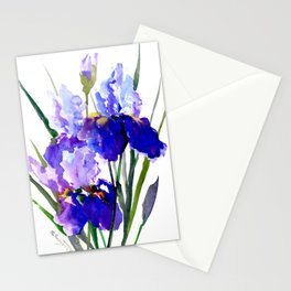Garden Irises, Blue Purple Floral Design Stationery Cards