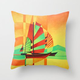 Chinese Junks Sail to Shore  Throw Pillow