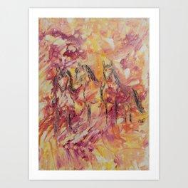 Friends Horses by (c) Janet watson Art Art Print