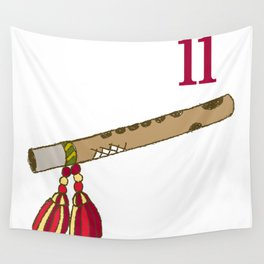 Vintage Inspired 12 Days of Christmas Eleven Pipers Piping  Wall Tapestry