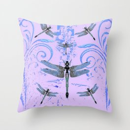DELICATE BLUE & LILAC DRAGONFLIES ABSTRACT ART Throw Pillow