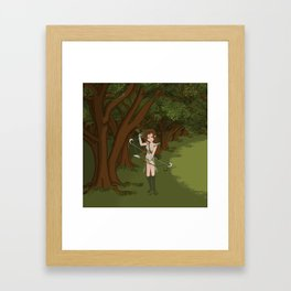 Girl Warrior Elf Archer on Edge of Forest Framed Art Print