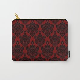 Crimson and Black Damask Carry-All Pouch