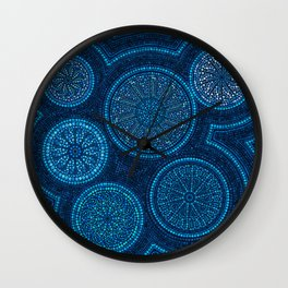 Dot Art Circles Abstract Blue Wall Clock
