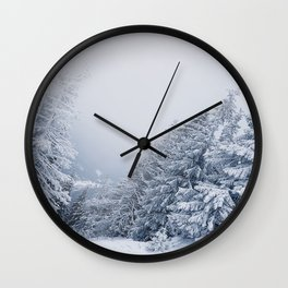 snow covered trees Wall Clock