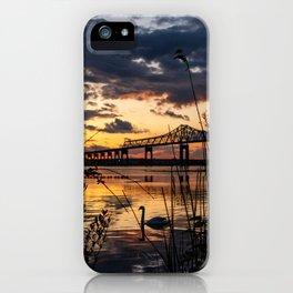 Sun sets on the bridge iPhone Case